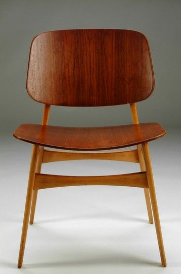Børge Mogensen; Teak-Faced Plywood and Oak Sidechair, 1950.