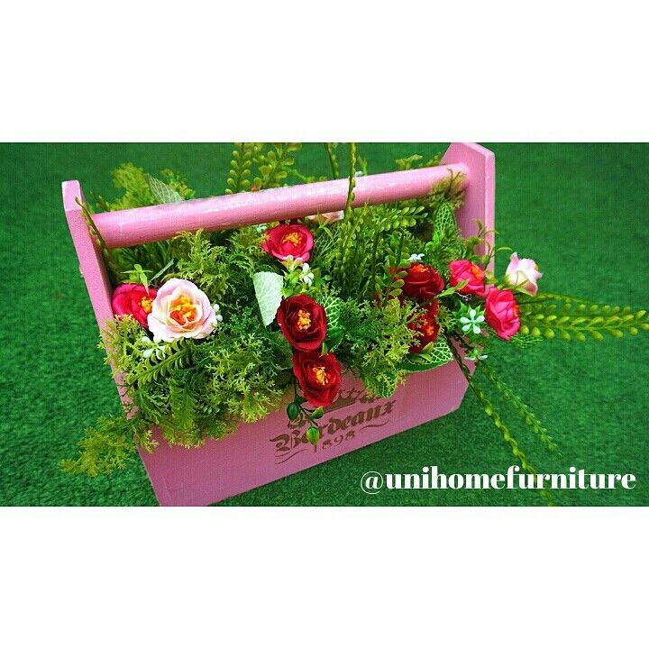 SALE. Flower pot / Toolbox 30cm together with the flowers.  READY STOCK.