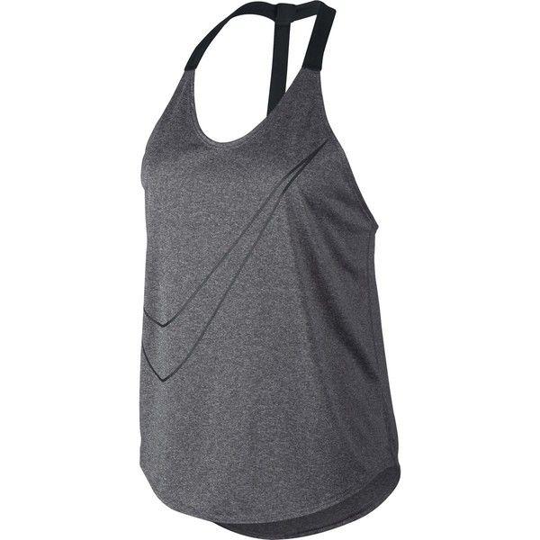 Nike Training Tank ($40) ❤ liked on Polyvore featuring activewear, activewear tops, nike, nike activewear, workout shirts, nike shirts and racerback shirt