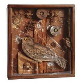 Artwork by Joseph Cornell, Bird in a Box, Made of wood, cork, branches, paint, printed paper and grains in wood and glass box construction