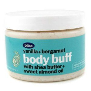 Vanilla + Bergamont Body Buff by Bliss by Baby's Bliss. $39.24. Free Shipping. A scrub paste with skin smoothing vanilla bean pieces Blended with softening shea butter & sweet almond Delivers mild polish action Gently eliminates dead skin cells & impurities Reveals a smooth clear & radiant skin surface Scent: Original