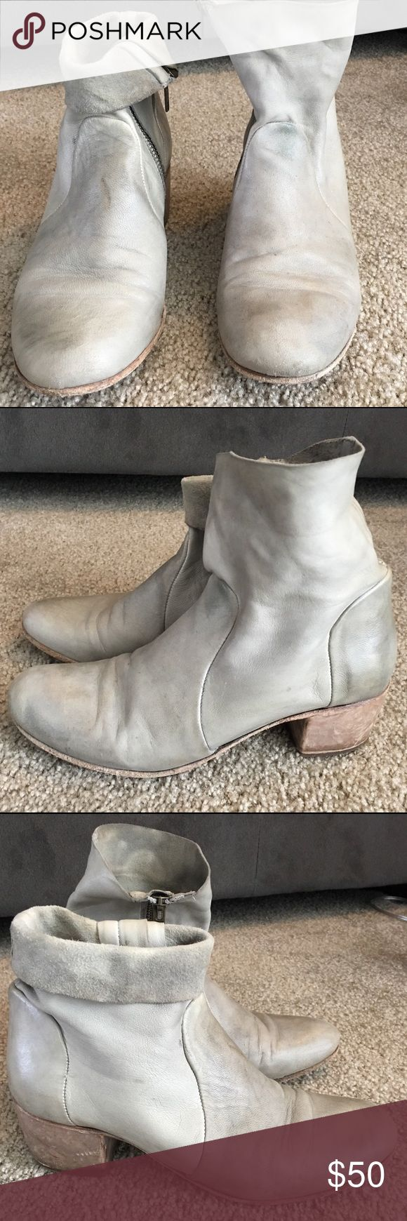 Free People grey leather boots These boots are amazing! I bought them too big and wanted to make them work but they just don't fit right! They are super soft and can be folded down or worn straight up. They are naturally worn looking so you don't have to be afraid to wear them! Free People Shoes Ankle Boots & Booties
