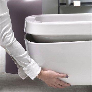 Væghængt toilet Abito med udskifteligt cover i Hvid