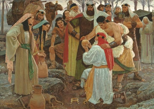 Lehi in the Wilderness Discovers the Liahona - Arnold Friberg
