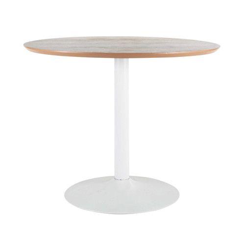 Mesa de comedor redonda de madera y metal Diam. 100 cm