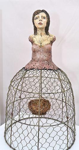 empty nest/ by Elissa Farrow-Savos: Altered Art Nests, Dolls Art, Santo Dolls, Farrowsavo, Empty Nests N2, Cage Dolls, Birds Cage, Art Dolls Sculpture, Ceramics Inspiration