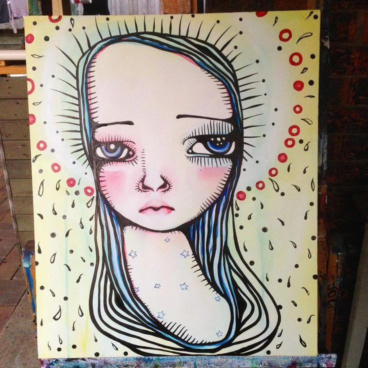 new work from this afternoon #art #brisbane #braidyhughes #braidyhughesart #artofinstagram #yellow #girl #ink #instaart