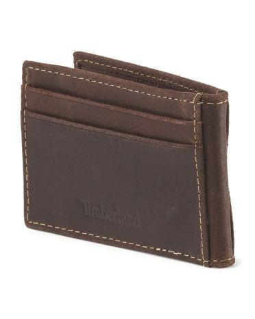 Leather Delta Flip Clip Wallet - TIMBERLAND dark brown