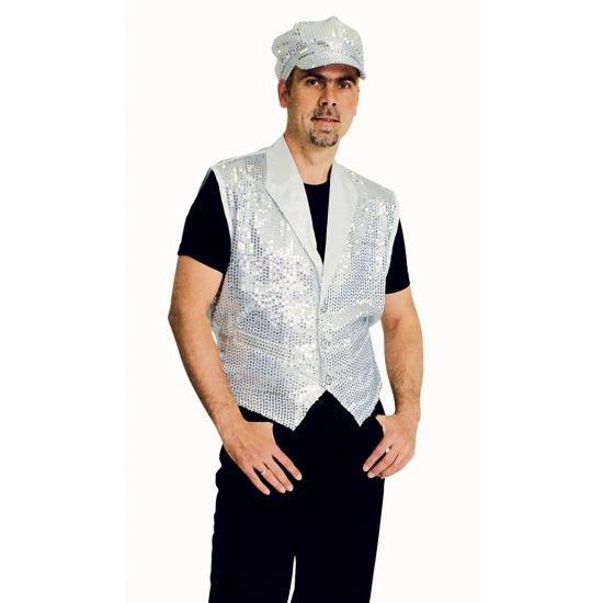 Zilver mouwloze vest met pailletten  Zilveren gilet met pailletten voor heren. Zilveren gilet met pailletten drie knopen en twee zakken.  EUR 14.95  Meer informatie