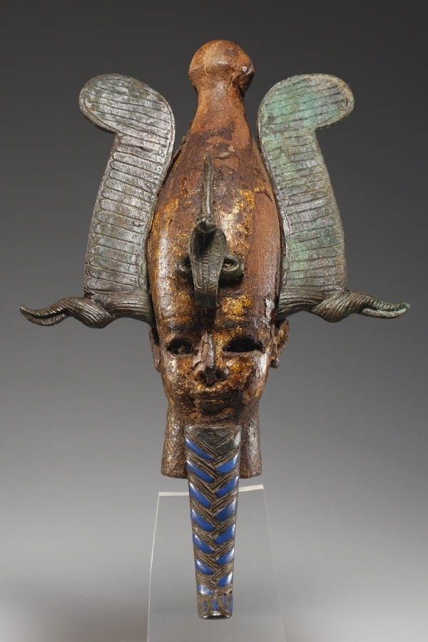 A head of Osiris from a large composite statuette. Wood, stucco, gold, bronze, glass  Egypt, Late Period, 4th cent. B.C.