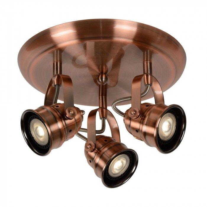 Cigal - ronde plafondlamp met 3 LED lichtbronnen in een koperen afwerking