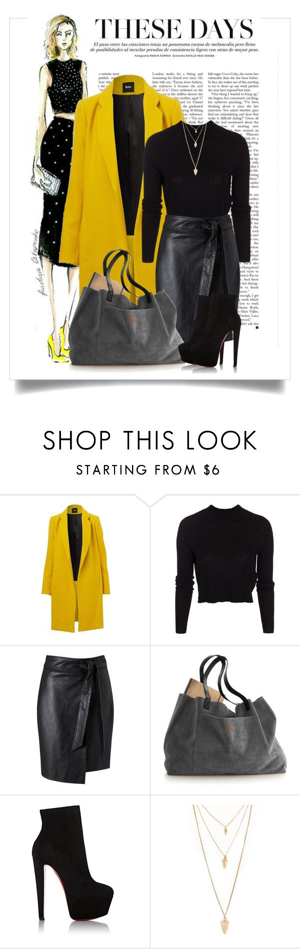 """""""желтое пальто"""" by www-gufi ❤ liked on Polyvore featuring moda, ONLY, Miss Selfridge, Christian Louboutin i Forever 21"""