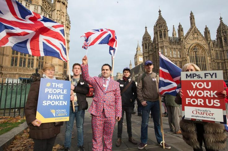 Westminster, London, UK. 23rd Nov, 2016. Pro-Brexit Supporters Protest outside Houses of Parliament, Westminster, UK Brexit supporters gather today at Parliament to stand up for the democracy of the Brexit Vote after 5 months of the 23rd June EU Refe