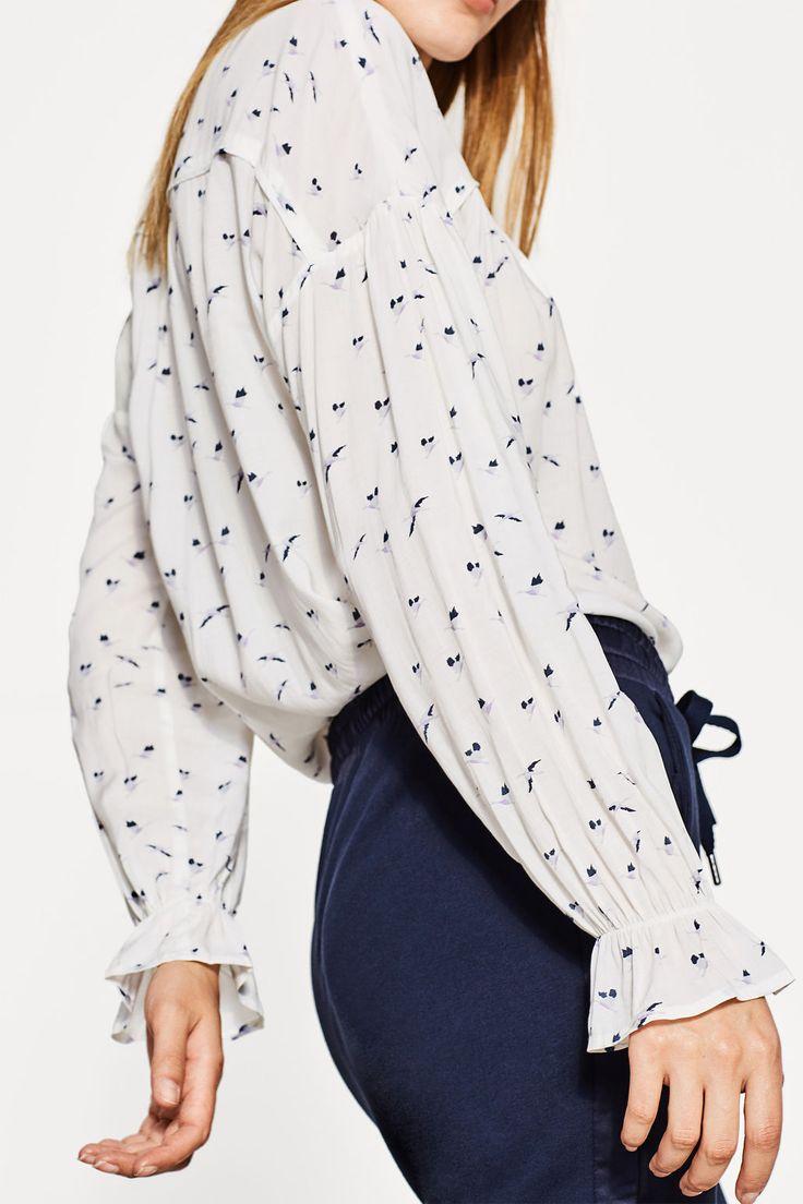 Esprit - Bluzka z nadrukiem i rękawami z falbanami w naszym sklepie internetowym