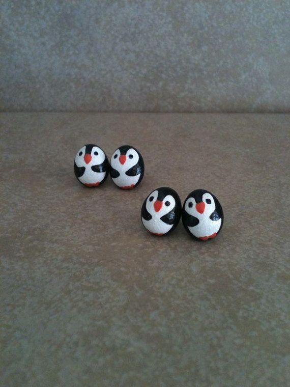 Penguin Studs by SoulJules on Etsy