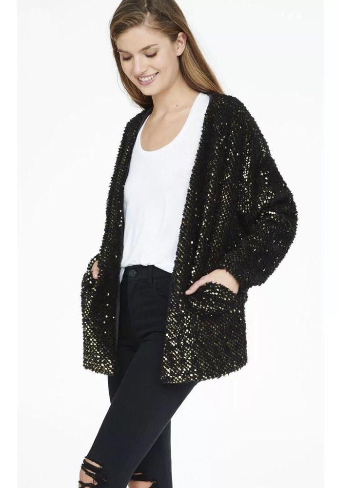 NEW! EXPRESS BLACK AND GOLD SEQUIN Sweater CARDIGAN RETAIL $108 MEDIUM #Express #CARDIGAN