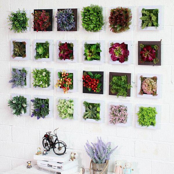 3D Artificial Plant Simulation Flower Frame Wall Decor Home Garden Wall Hanging Flower