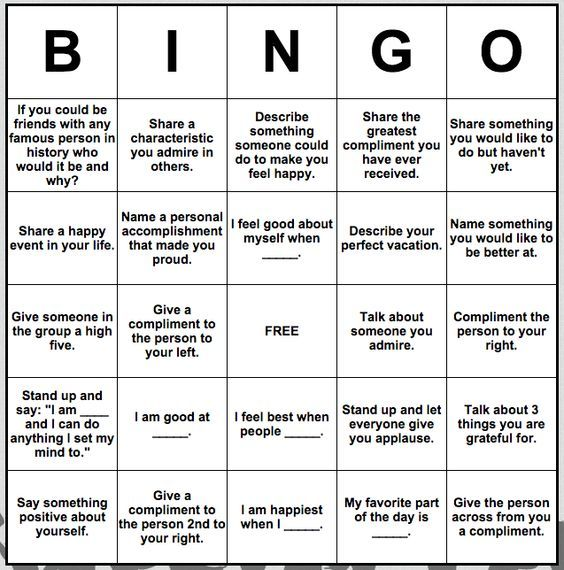 Self-esteem Bingo: