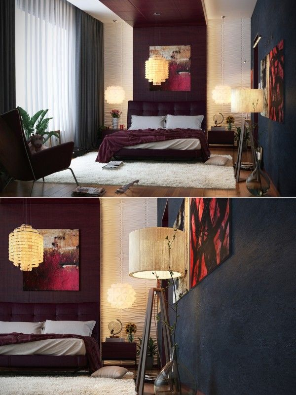 Interior:Black And Red Contemporary Interior Design Concept For Small House  Modern Master Bedroom Lighting Decor Nightstand Furniture Ideas Loft  Headboard ...