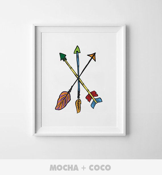 Indian Arrows Poster | Modern Wall Art, Cute Children's Wall Decor,Nursery  Kids Room, Printable Mocha + Coco, instant PRINT FILE DOWNLOAD