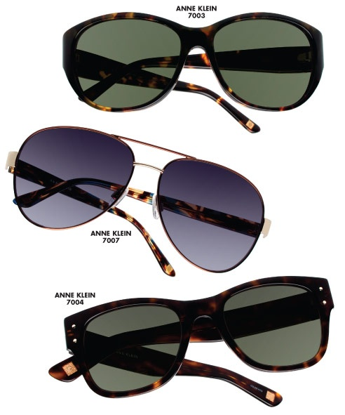The Anne Klein Eyewear collection by  Altair Eyewear debuts with eight sunglasses (showcased here) and 18 ophthalmic styles, which will be previewed in an upcoming 20/20.