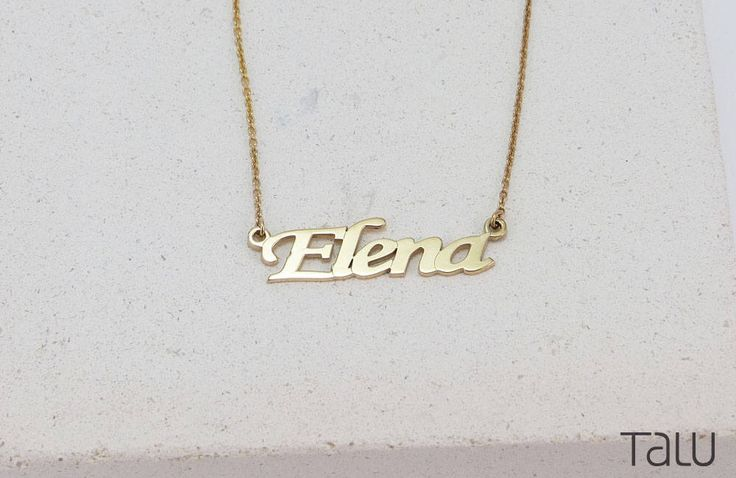 A personal favourite from my Etsy shop https://www.etsy.com/listing/519063964/name-necklace-gold-name-necklace-custom