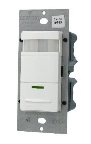 Leviton IPP15-1FW 1800W 120VAC Manual-On Occupancy Sensor for Single-Pole or 3-Way Applications, White by Leviton. $43.01. From the Manufacturer                Leviton offers many products that will help lower electrical costs and add convenience to everyday living. Leviton-Foots Decora Manual-On Occupancy Sensor Switch complies with California Title 24 by requiring the user to manually turn the lights ON but will automatically turn the lights OFF when a space is unoccupied. It ...