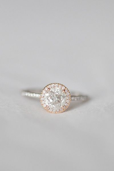 Rose gold and white gold ahlo engagement ring with pave band. Gorgeous. Cant remember if Ive pinned this. But I love it.