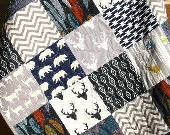 Bebe edredón, chico, azul marino gris gris, Elk ciervos, bosques, abedul bosque, manta moderna, Chevron oso Azteca, cuna, ropa de cama, los niños bebés