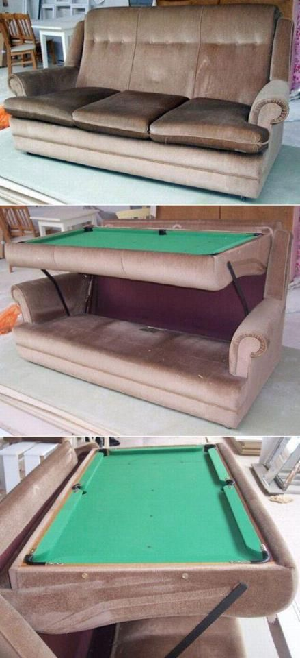 Pool table couch.