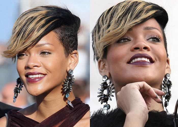 """Rihanna smiling in Plum colored Lipstick One page said it was KA'OIR in the color """"sex."""""""