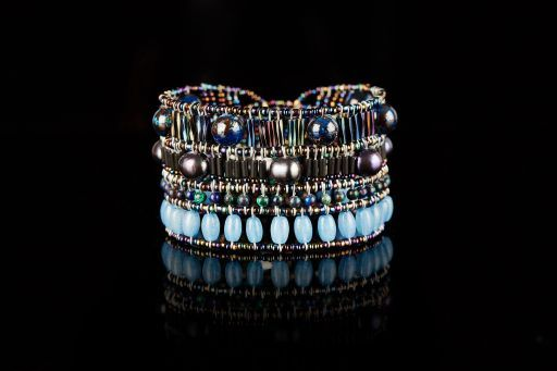 Bracelet with Agate, Pearl, Murano glass, Tourmaline, and signature silver fastening (#1452).