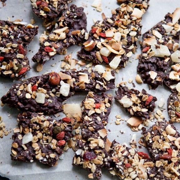 Tropical Dark Chocolate Granola Bark by asweetspoonful #Chocolate_Bark