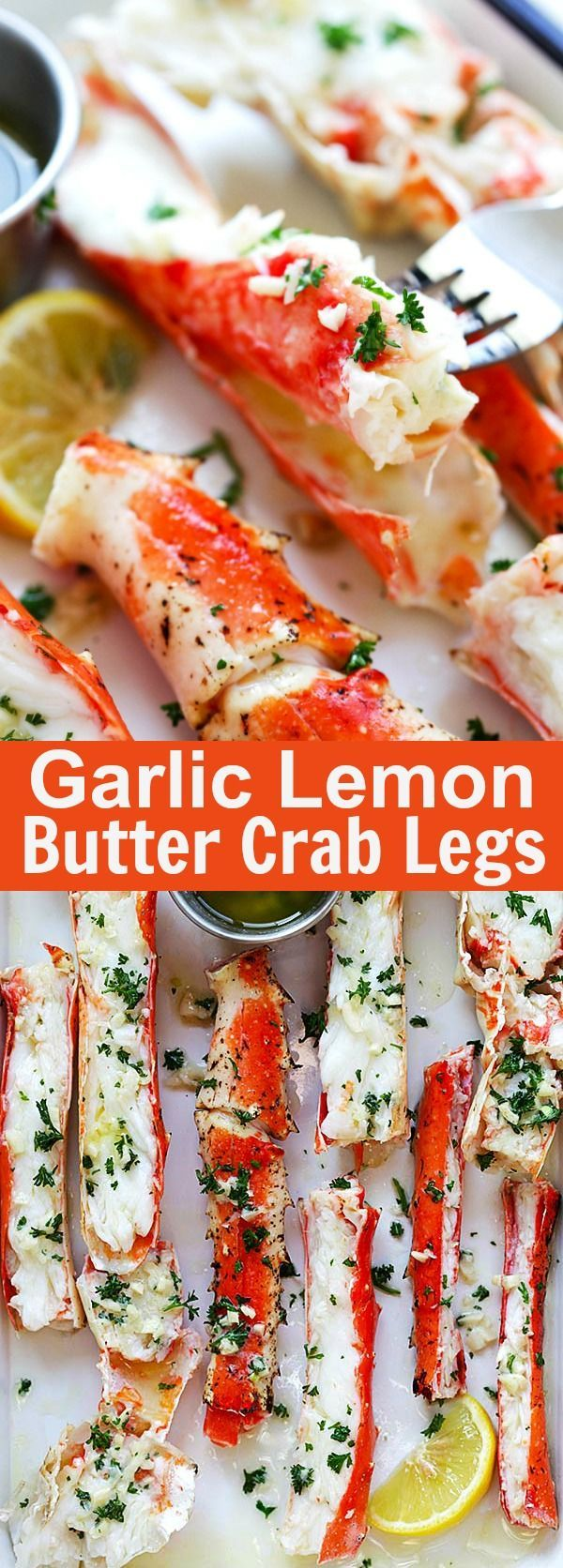 Garlic Lemon Butter Crab Legs – crazy delicious king crab legs in garlic herb and lemon butter. This crab legs recipe is so good you want it everyday | http://rasamalaysia.com