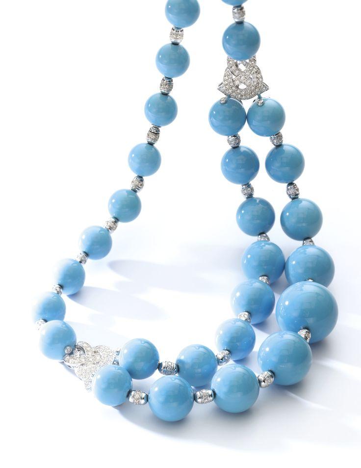 Turquoise and diamond necklace, 'Pierre de Car…