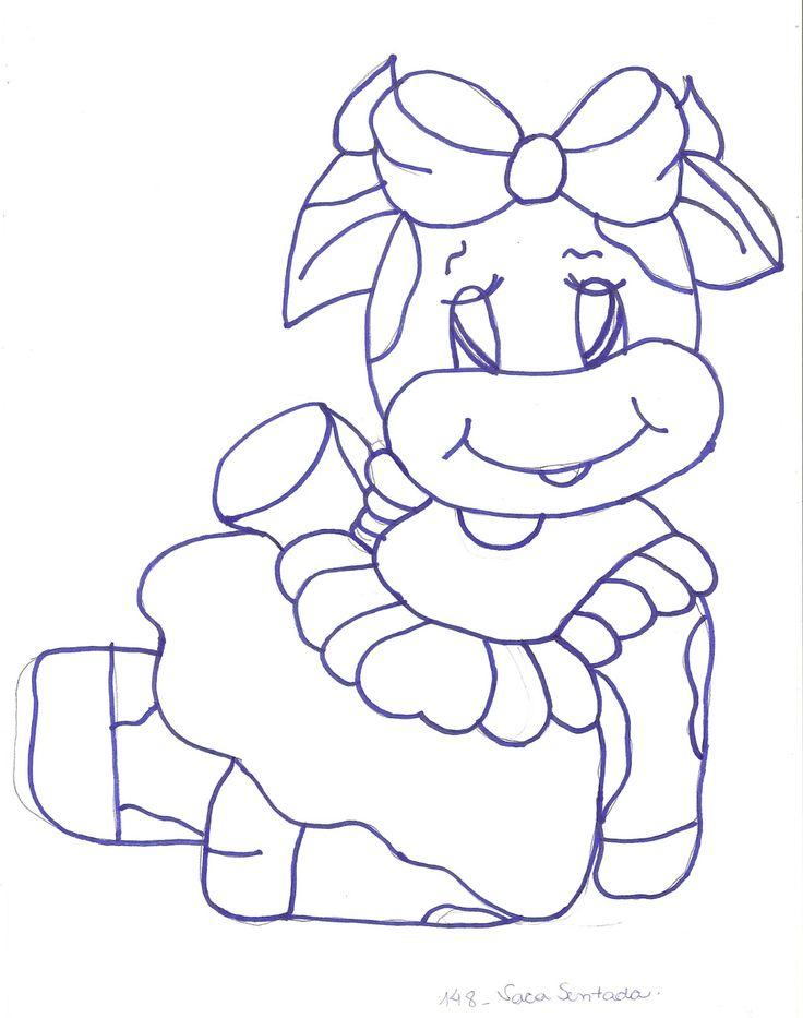 Sugestão De Cores:     Vaca: branco, cinza lunar, preto.     Boca: amarelo pele, caramelo, rosa chá.     Vestido e Laço : rosa chá, v...