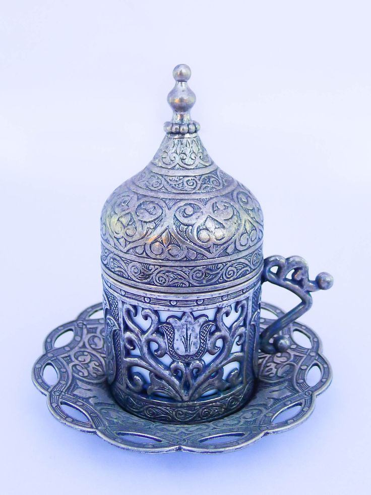 Traditional Turkish Coffee & Tea Cup Details: 1 cup, 1 removable dishwasher-safe ceramic insert, 1 saucers, 1 lid. Handmade Turkish brass art, wipe with a damp cloth. Dish-washable ceramic insert. Bra