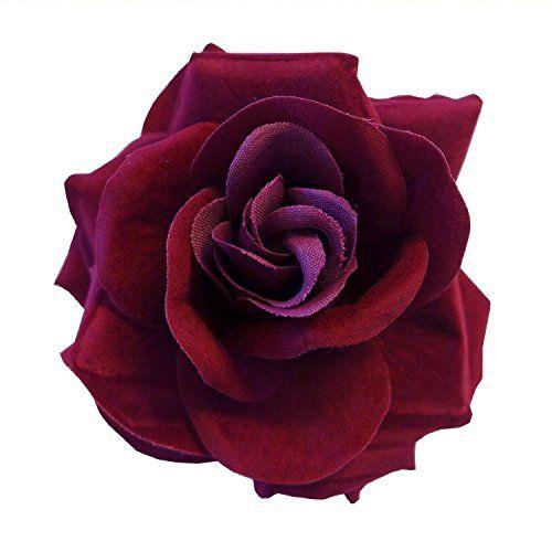 Burgundy Wine Red Fabric Large Burlesque Carmen Flower Ro...