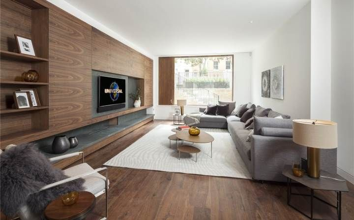 Wood clad wall in contemporary living room