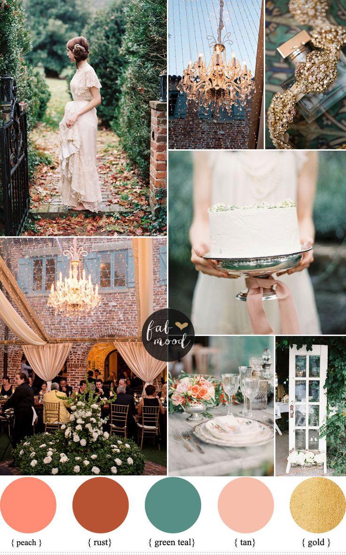 Peach and Teal Autumn secret garden wedding theme ideas - view more : http://www.fabmood.com/peach-teal-secret-garden-wedding-theme-ideas