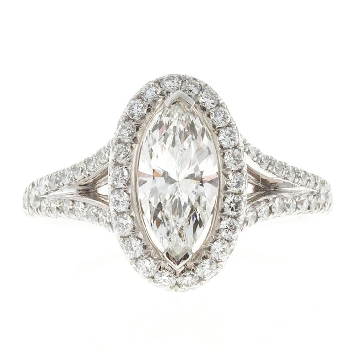 Peter Suchy Oval Halo Marquise Diamond Engagement Ring 2