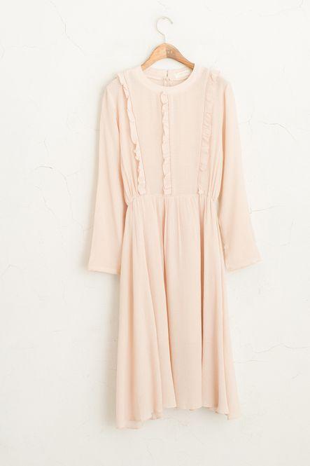 Frill Detail Mid Length Dress, Pink