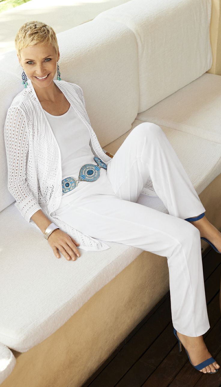 Chico's Travelers Collection Eyelet Cardigan, Cara Tank and Nesia Pant in White.
