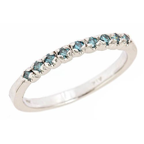 1-4ct-Blue-Diamond-Women-039-s-Wedding-Anniversary-Band-Ring-Pave-Set-10k-White-Gold