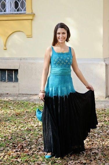 Selyem-nemez ruhák - Türkiz éjjel
