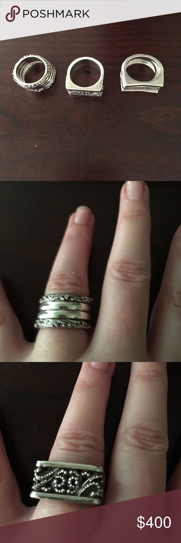 Lois Hill Rings 3 Sets of 925 silver Lois Hill Jewelry Rings