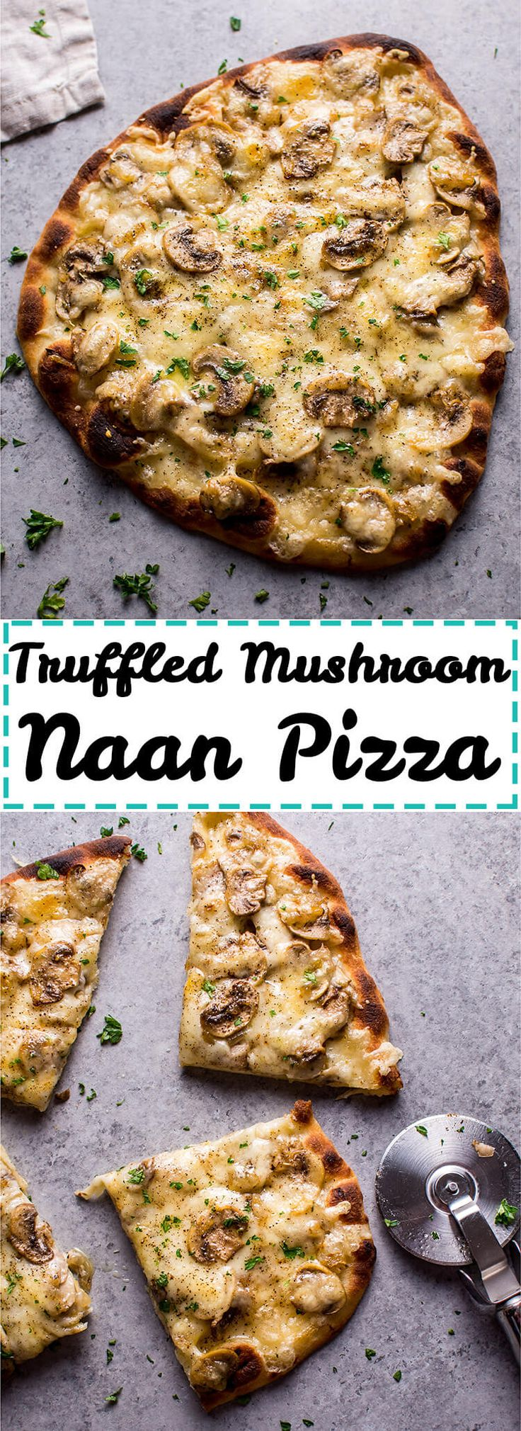 This vegetarian truffled mushroom naan pizza is super easy, a little fancy, and tastes way better than you'd expect from a quick homemade pizza! Ready in less than 30 mins!