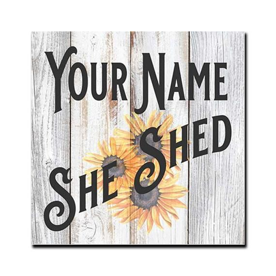 """Your Name Personalized She Shed Chic Farmhouse 14/"""" Wood Sign Gift B3-00140020001"""