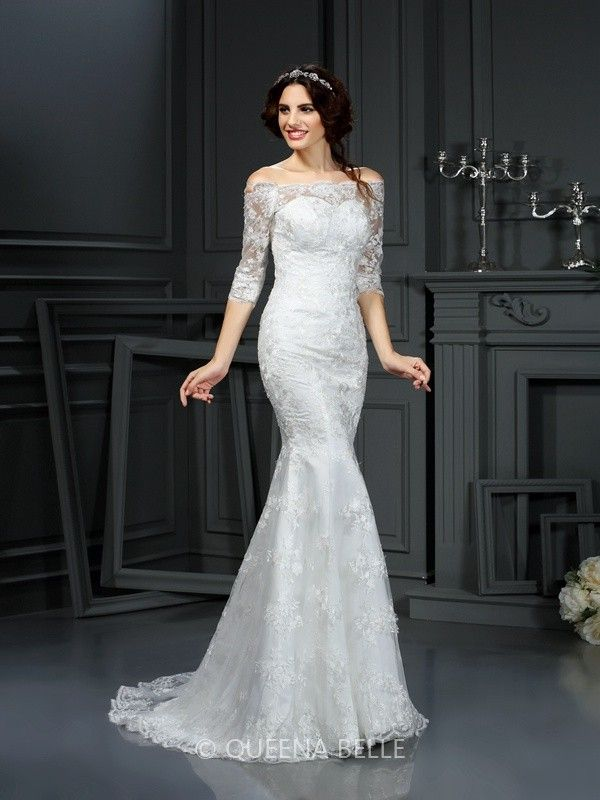 Sheath/Column Off the Shoulder 1/2 Sleeves Sweep/Brush Train Lace Wedding…