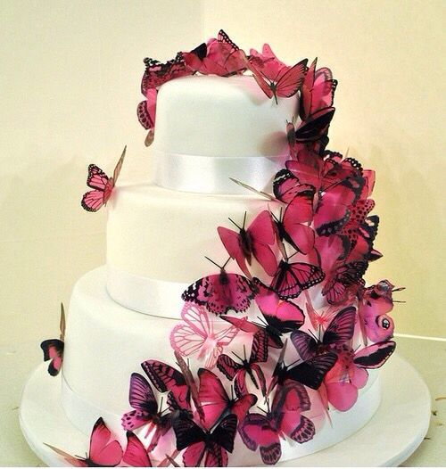 butterfly cake cakedesign mariage bleu blanc fuchsia pinterest g teaux papillons et. Black Bedroom Furniture Sets. Home Design Ideas